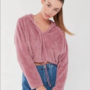 Urban Outfitters Faux Fur Pink Hoodie Size S